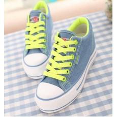 รองเท้าผ้าใบ แฟชั่นเกาหลีผู้หญิงส้นตึกหนา นำเข้า ไซส์35ถึง39 สีน้ำเงิน - พรีออเดอร์MA3022 ราคา1350บาท