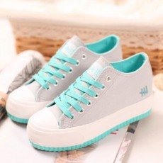 รองเท้าผ้าใบ แฟชั่นเกาหลีผู้หญิงส้นตึกรุ่นใหม่ นำเข้า ไซส์35ถึง39 สีเทา - พรีออเดอร์MA3026 ราคา1250บาท