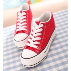 รองเท้าผ้าใบ มีส้นอินเทรนด์แฟชั่นเกาหลี นำเข้า ไซส์35ถึง39 สีแดง - พรีออเดอร์MA3031 ราคา1250บาท