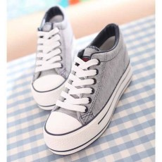 รองเท้าผ้าใบ มีส้นอินเทรนด์แฟชั่นเกาหลี นำเข้า ไซส์35ถึง39 สีเทา - พรีออเดอร์MA3031 ราคา1250บาท