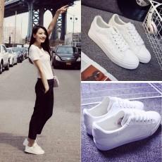 รองเท้าผ้าใบสีขาว แฟชั่นเกาหลีสวยอินเทรนด์แบบซุปตาร์ นำเข้า ไซส์35ถึง40 สีขาว - พรีออเดอร์MA3036ราคา1250บาท