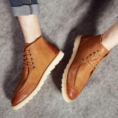 รองเท้าหนังผู้ชายหุ้มข้อ แฟชั่นบู๊ทสไตล์เกาหลีลำลองมีเชือก นำเข้า ไซส์39ถึง44 สีน้ำตาล - พรีออเดอร์MA5601 ราคา2700บาท
