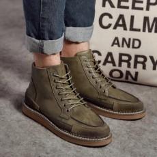 รองเท้าบู๊ทผู้ชาย หุ้มข้อหนังลำลองแฟชั่นเกาหลีสไตล์มาร์ติน นำเข้า ไซส์38ถึง44 สีเขียว - พรีออเดอร์MA5603 ราคา2900บาท