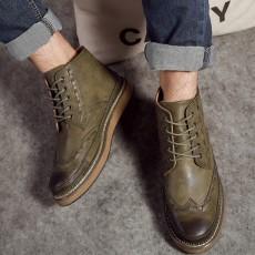รองเท้าบู๊ทผู้ชาย หุ้มข้อหนังลำลองแฟชั่นเกาหลีสไตล์มาร์ติน นำเข้า ไซส์39ถึง44 สีกากี - พรีออเดอร์MA5606 ราคา2900บาท
