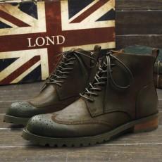 รองเท้าบู๊ทผู้ชาย หุ้มข้อหนังแท้แฟชั่นเกาหลีมาร์ตินวินเทจ นำเข้า ไซส์38ถึง44 สีกาแฟ - พรีออเดอร์MA5607 ราคา3500บาท