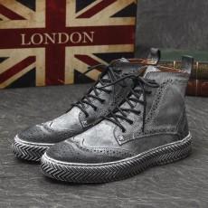 รองเท้าบู๊ทผู้ชาย หุ้มข้อหนังแท้สีฟอกแฟชั่นเกาหลีมาร์ตินเท่ใหม่ นำเข้า ไซส์38ถึง43 สีดำ - พรีออเดอร์MA5608 ราคา3700บาท