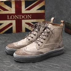 รองเท้าบู๊ทผู้ชาย หุ้มข้อหนังแท้สีฟอกแฟชั่นเกาหลีมาร์ตินเท่ใหม่ นำเข้า ไซส์38ถึง43 สีน้ำตาล - พรีออเดอร์MA5608 ราคา3700บาท