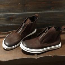รองเท้าบู๊ทผู้ชาย หุ้มข้อหนังแท้แฟชั่นเกาหลีมาร์ตินมีซิปเท่ใหม่ นำเข้า ไซส์38ถึง44 สีน้ำตาล - พรีออเดอร์MA5611 ราคา3700บาท