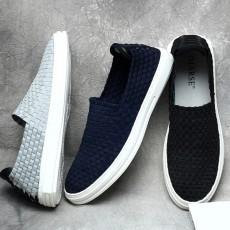 รองเท้าผ้าใบลายสาน แฟชั่นเกาหลีผู้ชายสวมLOAFERSเทรนด์ใหม่ นำเข้า ไซส์39ถึง44 สีน้ำเงิน - พรีออเดอร์MA5612 ราคา3000บาท