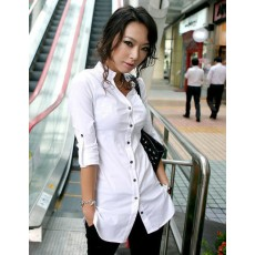 เสื้อเชิ้ต ทำงาน แฟชั่นเกาหลี ใหม่ สวย อินเทรนด์ ตัวยาว นำเข้า ไซส์S/M/L/XL สีขาว - พรีออเดอร์MI506