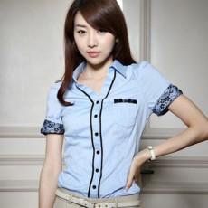 เสื้อเชิ้ตลูกไม้แขนสั้น แฟชั่นเกาหลีผู้หญิงใหม่สวยอินเทรนด์ นำเข้า ไซส์XL สีฟ้า - พร้อมส่งMI511 ราคา1100บาท