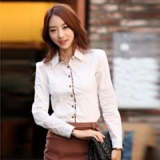 เสื้อเชิ้ต ทำงาน แฟชั่นเกาหลี สวย อินเทรนด์ แนวเซ็กซี่ นำเข้า ไซส์Sถึง2XL สีขาว - พรีออเดอร์MI516 ราคา 1450 บาท