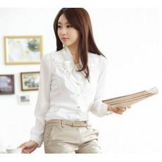 เสื้อเชิ้ต ทำงาน แฟชั่นเกาหลี โบว์ระบายอก สวย อินเทรนด์ นำเข้า ไซส์SถึงXL สีขาว - พรีออเดอร์MI545 ราคา 1400 บาท