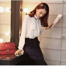 เสื้อเชิ้ต แฟชั่นเกาหลี สวย คอวินเทจตัวหลวม สไตล์หรู นำเข้า ไซส์SถึงXL สีขาว - พรีออเดอร์MI548 ราคา1400บาท