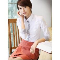 เสื้อเชิ้ต ทำงาน แฟชั่นเกาหลี แบบใหม่ สวยเรียบหรู นำเข้า ไซส์Sถึง2XL สีขาว - พรีออเดอร์MI532 ราคา 1650 บาท