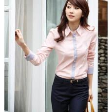 เสื้อเชิ้ตทำงาน แฟชั่นเกาหลี แบบใหม่ สวยเรียบหรู นำเข้า ไซส์Sถึง2XL สีชมพู - พรีออเดอร์MI532 ราคา 1650 บาท