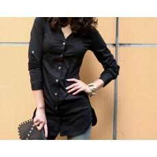 เสื้อเชิ้ต ทำงาน แฟชั่นเกาหลี ใหม่ สวย อินเทรนด์ ตัวยาว นำเข้า ไซส์S/M/L/XL สีดำ - พรีออเดอร์MI506