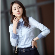 เสื้อเชิ้ต ทำงาน แฟชั่นเกาหลี ใหม่สวย อินเทรนด์ นำเข้า ไซส์S/M/L/XL/XXL สีฟ้า - พรีออเดอร์MI502