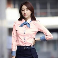 เสื้อเชิ้ต ทำงาน แฟชั่นเกาหลี ใหม่สวย อินเทรนด์ นำเข้า ไซส์S/M/L/XL/XXL สีชมพู - พรีออเดอร์MI502