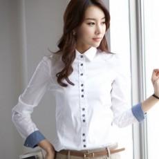 เสื้อเชิ้ตทำงานแขนยาวชุดฟอร์มพนักงานบริษัทราคาส่ง นำเข้า ไซส์Sถึง2XL สีขาว - พรีออเดอร์MI502 ราคา659บาท