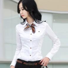 เสื้อเชิ้ต ทำงาน แฟชั่นเกาหลี ใหม่สวย อินเทรนด์ นำเข้า ไซส์S/M/L/XL สีขาว - พรีออเดอร์MI503