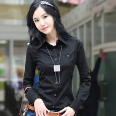 เสื้อเชิ้ต ทำงาน แฟชั่นเกาหลี ใหม่สวย อินเทรนด์ นำเข้า ไซส์S/M/L/XL สีดำ - พรีออเดอร์MI503