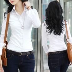 เสื้อเชิ้ต ทำงาน แฟชั่นเกาหลี ใหม่สวยแขนยาวฟอร์มพนักงาน นำเข้า ไซส์S/M/L/XL สีขาว - พรีออเดอร์MI505