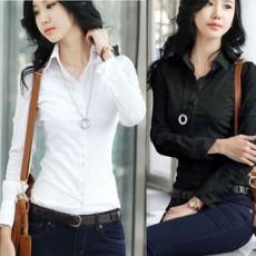เสื้อเชิ้ต ทำงาน แฟชั่นเกาหลี ใหม่สวยแขนยาวฟอร์มพนักงาน นำเข้า ไซส์S/M/L/XL สีดำ - พรีออเดอร์MI505