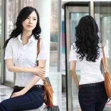 เสื้อเชิ้ตทำงานแขนสั้นชุดฟอร์มพนักงานบริษัทราคาส่ง นำเข้า ไซส์Sถึง2XL สีขาว - พรีออเดอร์MI505