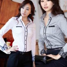 เสื้อเชิ้ต ทำงาน แฟชั่นเกาหลีผู้หญิง ใหม่สวย ลูกไม้อินเทรนด์ นำเข้า ไซส์S/M/L/XL สีขาว - พรีออเดอร์MI508