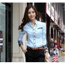เสื้อเชิ้ต ทำงาน แฟชั่นเกาหลีผู้หญิง ใหม่สวย ลูกไม้อินเทรนด์ นำเข้า ไซส์S/M/L/XL สีฟ้า - พรีออเดอร์MI508