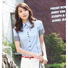 เสื้อเชิ้ตผู้หญิง แฟชั่นเกาหลีแขนสั้นสวยใส่ทำงานคุณภาพ นำเข้าไซส์L สีฟ้า - พร้อมส่งMI515 ลดราคาถูก