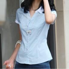 เสื้อเชิ้ต ทำงาน แฟชั่นเกาหลี ใหม่สวยแขนสั้นฟอร์มพนักงาน นำเข้า ไซส์S/M/L/XL สีฟ้า - พรีออเดอร์MI519 ร าคา1700บาท