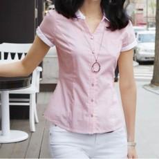 เสื้อเชิ้ต ทำงาน แฟชั่นเกาหลี ใหม่สวยแขนสั้นฟอร์มพนักงาน นำเข้า ไซส์S/M/L/XL สีชมพู - พรีออเดอร์MI519 ร าคา1700บาท