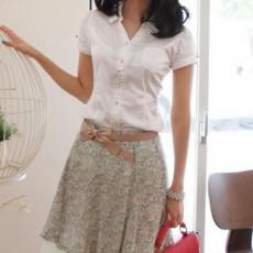 เสื้อเชิ้ต ทำงาน แฟชั่นเกาหลี ใหม่สวยแขนสั้นฟอร์มพนักงาน นำเข้า ไซส์S/M/L/XL สีขาว - พรีออเดอร์MI519 ราคา1700บาท