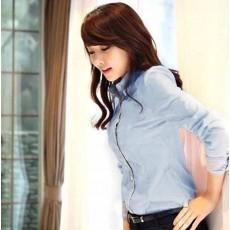 เสื้อเชิ้ต ทำงาน แฟชั่นเกาหลี แบบใหม่ สวยเรียบหรู นำเข้า ไซส์Sถึง2XL สีฟ้า - พรีออเดอร์MI532 ราคา 1650 บาท