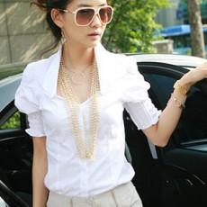 เสื้อเชิ้ต ทำงาน แฟชั่นเกาหลี ใหม่สวยแขนสั้นฟอร์มพนักงาน นำเข้า ไซส์S/M/L/XL สีขาว - พรีออเดอร์MI554 ราคา1650บาท