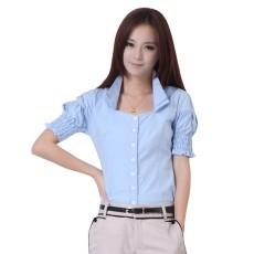 เสื้อเชิ้ต ทำงาน แฟชั่นเกาหลี ใหม่สวยแขนสั้นฟอร์มพนักงาน นำเข้า ไซส์S/M/L/XL สีฟ้า - พรีออเดอร์MI554 ราคา1650บาท