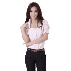 เสื้อเชิ้ต ทำงาน แฟชั่นเกาหลี ใหม่สวยแขนสั้นฟอร์มพนักงาน นำเข้า ไซส์S/M/L/XL สีชมพู - พรีออเดอร์MI554 ราคา1650บาท