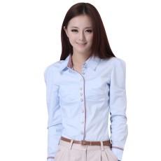 เสื้อเชิ้ต ทำงาน แฟชั่นเกาหลี กระดุมหรู สวย นำเข้า ไซส์S-2XL สีฟ้า/ขาว - พรีออเดอร์MI580 ราคา 1750 บาท