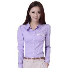 เสื้อเชิ้ต ทำงาน แฟชั่นเกาหลี เรียบหรู สวย นำเข้า ไซส์Sถึง2XL สีม่วง - พรีออเดอร์MI581 ราคา 1790 บาท