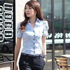 เสื้อผ้าทำงาน แฟชั่นเกาหลีเชิ้ตสวยแขนสั้นฟอร์มพนักงาน นำเข้า ไซส์Mถึง2XL สีฟ้า - พรีออเดอร์MI591 ราคา1590บาท