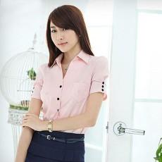 เสื้อเชิ้ต ทำงาน แฟชั่นเกาหลี ใหม่สวยแขนสั้นฟอร์มพนักงาน นำเข้า ไซส์Sถึง2XL สีชมพู - พรีออเดอร์MI591 ราคา1590บาท