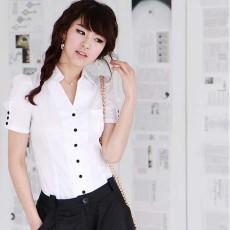 เสื้อเชิ้ต ทำงาน แฟชั่นเกาหลี ใหม่สวยแขนสั้นฟอร์มพนักงาน นำเข้า ไซส์Sถึง2XL สีขาว - พรีออเดอร์MI591 ราคา970บาท