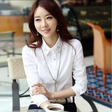 เสื้อเชิ้ต ทำงาน แฟชั่นเกาหลี ใหม่สวยปกปักเลื่อมหรู นำเข้า ไซส์S-XXL สีขาว - พรีออเดอร์MI596 ราคา1750บาท