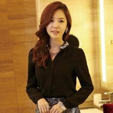 เสื้อเชิ้ต ทำงาน แฟชั่นเกาหลี ใหม่สวยปกแต่งมุกหรู นำเข้า ไซส์S/M/L/XL/XXL สีดำ - พรีออเดอร์MI597 ราคา1750บาท
