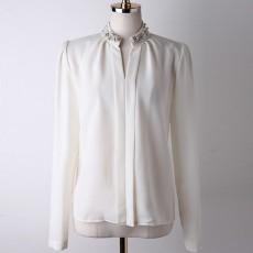 เสื้อเชิ้ต ทำงาน แฟชั่นเกาหลี ใหม่สวยปกแต่งมุกหรู นำเข้า ไซส์S/M/L/XL/XXL สีขาว - พรีออเดอร์MI597 ราคา1750บาท