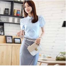 ชุดเสื้อกระโปรงทำงาน แฟชั่นเกาหลีฟอร์มพนักงาน นำเข้า เสื้อฟ้ากระโปรงเทา - พรีออเดอร์MI602 ราคา1650บาท