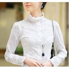 เสื้อเชิ้ต แฟชั่นเกาหลีลูกไม้คอตั้งสวยหรูหรา นำเข้า ไซส์SถึงXXL สีขาว - พรีออเดอร์MI609 ราคา1390บาท