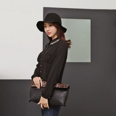 เสื้อเชิ้ต แฟชั่นเกาหลี สวย คอวินเทจตัวหลวม สไตล์หรู นำเข้า ไซส์SถึงXL สีดำ - พรีออเดอร์MI548 ราคา1400บาท